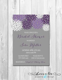 Purple and gray invitations by BeccaLeePaperie, $14.00