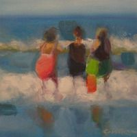 THE GIRLS ON THE BEACH 12x12 acrylic on panel by Brian Cameron