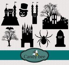 Halloween Silhouettes, Silhouette Clip Art, Buy 1, Vector Design, Paper Cutting, Bee, Batman, Etsy Shop, Crafty