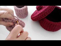 Penye ipten yuvarlak sepet yapımı ( penye ipten kapak yapımı) - YouTube