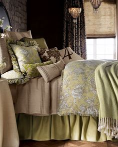 """Bedroom Bedding: Lime Green with the color of Burlap.: French Laundry Home """"Spring Garden"""" Bed Linens - Horchow"""