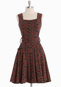 """Dolce Vita Indie Dress In Deco Print By Effie's Heart 79.99 at shopruche.com. Designed in luxurious pima cotton, this brown dress by Effie's Heart is finished with an optional matching sash and a hint of stretch for a comfortable and flattering fit., ,  95% Pima Cotton, 5% Spandex ,  Imported,  38"""" length from top of shoulder"""