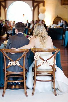 Sparkling gold sweetheart table chair signs. Captured By: Angie Silvy ---> http://www.weddingchicks.com/2014/05/08/fill-your-wedding-with-love-and-adventure/