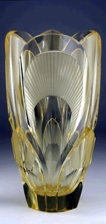 c.1920s-30s CITRINE RELIEF MOULDED & CUT DECO GLASS VASE, PROBABLY RUDOLF HLOUSEK EISENBROD