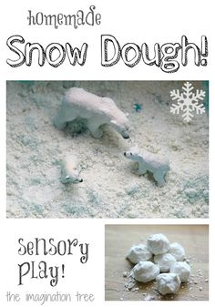 Snow Dough Recipe for Winter Sensory Play! - The Imagination Tree