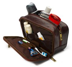 Be it an overnight trip or a month long jaunt to Rio, packing and stocking a toiletry bag is essential. Thank goodness then for the wonders of the dopp kit. Travel Bag Essentials, Dopp Kit, Travel Kits, Toiletry Bag, Travel Accessories, Leather Bag, Mens Fashion, Travel Luggage, Luggage Packing