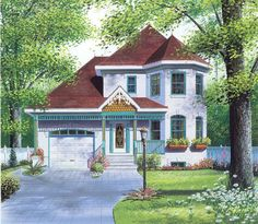 Victorian Style House Plans - 1508 Square Foot Home, 2 Story, 3 Bedroom and 1 3 Bath, 1 Garage Stalls by Monster House Plans - Plan 5-421