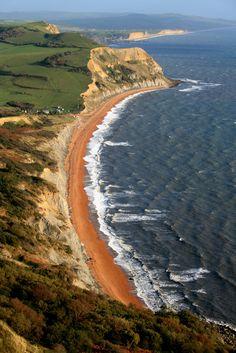 Seatown Beach from Golden Cap, Dorset, England