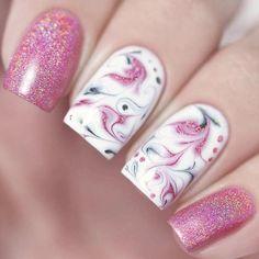 21 Pink Nails Designs to Look Romantic and Girly: Abstract Nail Art in Pink Shades #pinknails; #nailart; #naildesigns