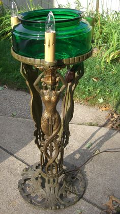 Antique Lighted Cast Iron Sea Goddess Fish Bowl Stand Green Glass Fishbowl