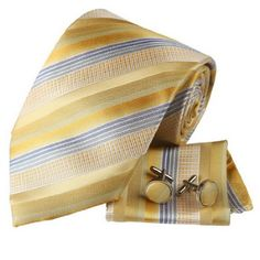 H6078 Gold Stripes Valentines Silk Necktie Cufflinks Hanky Set 3PT By Y&G - http://valentinesdayluv.com/?product=h6078-gold-stripes-valentines-silk-necktie-cufflinks-hanky-set-3pt-by-yg