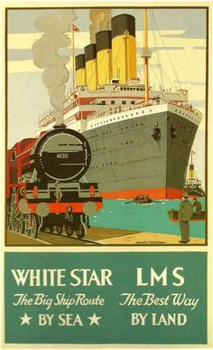 Titanic White Star Line LMS Rail Travel Poster -  1911.  Print