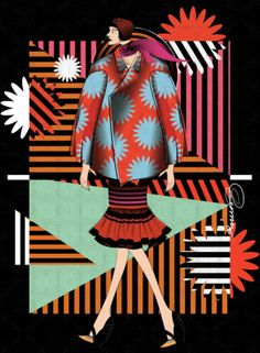 Coat by Comme Des Garcons F/W 2012; dress by Prada S/S 2011; scarf and heels by Christian Dior by Renz Reyes Illustration.Files: Designer Remix Vol. 2 by Renz Reyes
