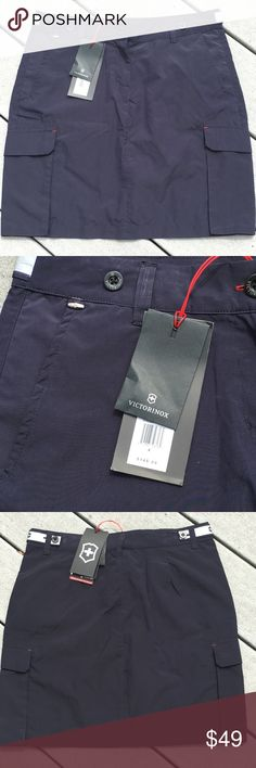"Victorinox Utility Skirt NWT, from the makers of the original Swiss Army knife: this black polyester and nylon utility skirt is soft and comfortable! Pockets on both hip areas and 2 lower utility pockets with snap closure. Hip to hip measures about 15"" across, top to bottom measures about 17 1/4"". 70% polyester, 30% nylon. Victorinox Skirts"