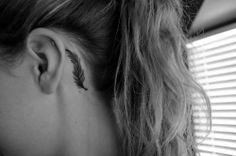 behind the ear feather tattoo