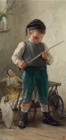 """The Little Soldier"" -- by Gustav Igler (Hungarian, 1842–1908) *"