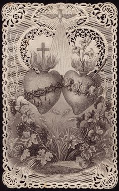 The Sacred Heart of Jesus and the Sorrowful and Immaculate Heart of Mary- tattoo inspo Religious Pictures, Religious Icons, Religious Art, Coeur Tattoo, Sacred Heart Tattoos, Jesus E Maria, Vintage Holy Cards, Religion Catolica, Heart Of Jesus