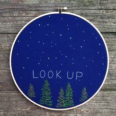 """Look up"" night sky scene #embroidery #stars #trees"