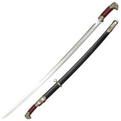 Cold Steel Russian Shashqua Swords for sale are 37 5/8th inches in all and weigh 2 pounds. The Shashqua or Shashka Swords are inspired by real Russian cavalry sabers that were popular with Cossack warriors. This modern version features a highly polished and sharpened 32 inch functional 1060 carbon steel blade that terminates in a spear-like point.