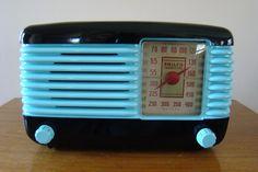Philco Transitone  #46-200 Bakelite Deco Radio. Aqua and Black Lacquer Beauty !!   eBay