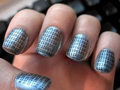 Nail art geek in binary code Nail Art Designs, Cute Easy Nail Designs, Short Nail Designs, Beautiful Nail Designs, Beautiful Nail Art, Beautiful Mind, Paint Designs, Nails Design, Crazy Nail Art