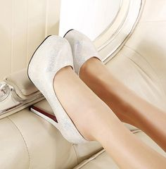 Glittering Sequined Cheap Heels - Shoespie.com