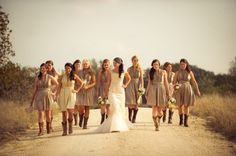 Do not like the bridemaids dressed, but love love love the dirt road photo with the boots!!