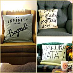 DIY Disney themed throw pillows that would be great in the play room for the kids to snuggle with!