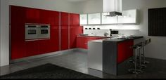 Spacious contemporary kitchen interiors can be designed with any color, from crispy white to black or bright red