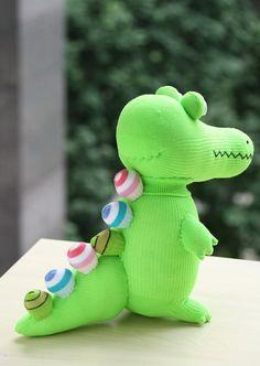 T8 Stuffed green Crocodile toy plush girl doll by Toyapartment
