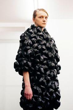 Sculptural Fashion - dress with black textures & voluminous silhouette; wearable art // Noir Kei Ninomiya A/W 2015