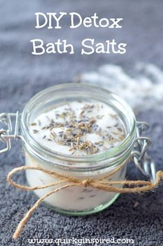 These homemade bath salts are a great detox bath salt recipe to help you feel better! Plus there are only 2 ingredients!