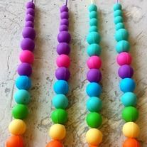 Rainbow BPA-Free Non-Toxic Silicon Teething Necklaces from Yiru Yiru Baby Shop Bpa Frei, Sock Animals, Wet Bag, Teething Necklace, First Daughter, Indie Brands, Beaded Necklace, Necklaces, Baby Shop
