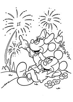 mickey mouse fireworks coloring pages for kids printable free - Firework Coloring Pages Printable