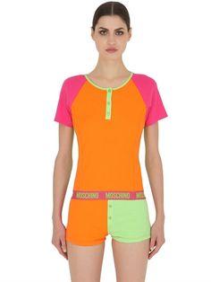 MOSCHINO UNDERWEAR RIBBED COTTON T-SHIRT, MULTICOLOR. #moschinounderwear #cloth #t-shirts