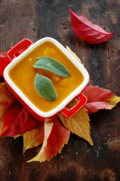 Pumpkin soup -- What I really like is the way the bowl is placed on the autumn leaves.