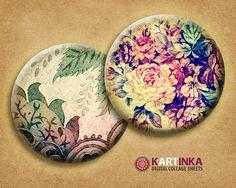 VINTAGE MIX  2 inch circle Digital Collage Sheet by KARTINKAshop, $3.60