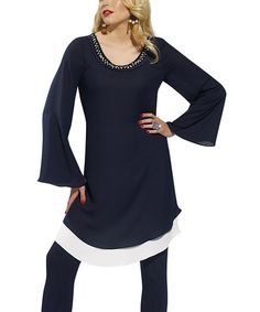 Take a look at this Navy Tunic & Leggings - Women & Plus by Donna on #zulily today!