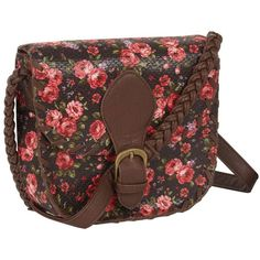 Brown ditsy floral across body bag ($16) ❤ liked on Polyvore