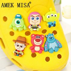 Shoe Decorations Novelty Sesame Street Cute Cartoon Accessory Shoe Charms Decoration Buckles Fit Wristbands Bracelets Kids Toys Xmas Gifts