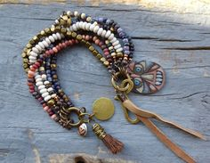 Gypsy Bohemian six strand beaded Tassel by BeadStonenSkin on Etsy, €46.50