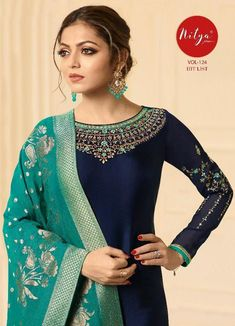 On Booking Buy LT Fabrics Nitya Vol 124 Hit List Designer Embroidered Satin Georgette Straight Dress Material Wholesaler Surat at Wholesale Price. INR 8495 pcs Satin Georgette Latest catalog LT Fabrics Nitya Vol 124 Hit List Green Color Combination Dresses, Indian Dresses, Indian Outfits, Pakistani Fashion Party Wear, Embroidery Suits Design, Straight Dress, Indian Designer Outfits, Popular Dresses, Salwar Kameez