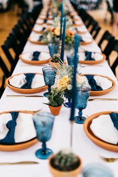 Navy and clay tabletop December Wedding Colors, Winter Wedding Colors, Fall Wedding, Dream Wedding, Navy Wedding Centerpieces, Wedding Decorations, Burnt Orange Weddings, Different Wedding Ideas, Simple Wedding Bands