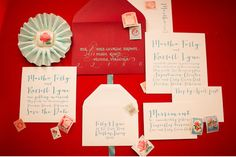 Aqua + Red Wedding - Letterpress Wedding Invitations by Page Stationery on @Green Wedding Shoes / Jen Campbell