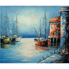 Beautiful oil painting on canvas boats on the sea 20x24 for Oil paintings for sale amazon