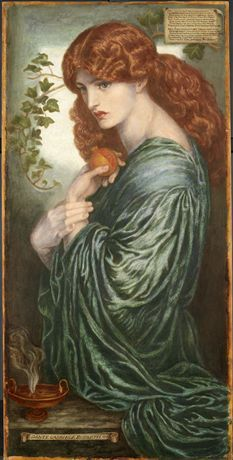 A red-headed Proserpine, looking towards the left, in three quarter profile: she holds a pomegranate in one hand and her flexed wrist in the other.Inscribed in upper right with Rossetti's sonnet on the subject.