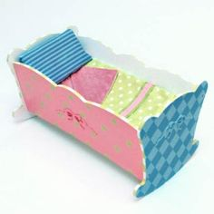 Painted doll cradle
