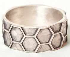 Sterling Honeycomb Men's Ring by BeeAmourJewelry on Etsy, $92.00