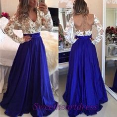 Long prom dress, ball gown, 2016 backless blue satin modest prom dress with…