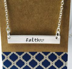 Hand Stamped Initial Necklace Bar Necklace by UniquelyImprint